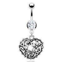 Body Accentz® Belly Button Ring 316L Surgical Steel Vintage Flower Garden in a Heart Loop Navel Ring Dangle Body Jewelry Dangle 14g HO696