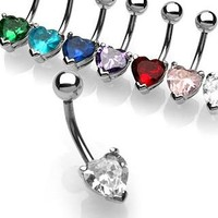 Belly Ring-Heart Stud