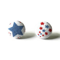 Light Blue and Red Stars Fourth of July Glitter Fabric Covered Button Earrings