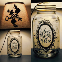Alice in Wonderland inspired Mason Jar Character Lamp
