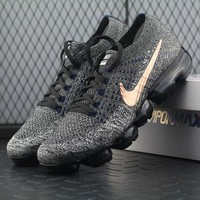 ONETOW Best Online Sale Nike Air VaporMax Vapor Max 2018 Flyknit Men Grey Gold Sport Running Shoes 849558-010