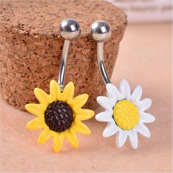 New Arricel Sun Flower  Medical Stainless Steel Piercing Belly Button Rings Body Piercing Navel Jewelry Free Shipping