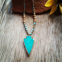 Turquoise Arrow Long Necklace
