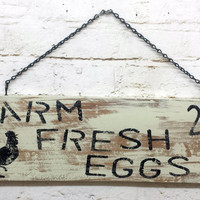 Farm Fresh Eggs sign Rooster wall hanging rustic shabby chic tan home decor cottage primitive distressed chippy paint housewarming gift