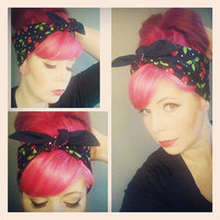 Cherries and Black WIDE double sided Headwrap Bandana Hair Bow Tie Style - Rockabilly - Pin Up - For Women, Teens