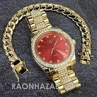 Raonhazae Hip Hop Iced Lab Diamond Red Face Drake 14K Gold Plated Watch with Miami Cuban Chain Set - GTX001