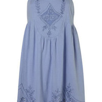 Chambray Embroiderd Hem Tunic - New In - Topshop