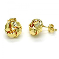 Gold Layered 02.63.2374 Stud Earring, Love Knot Design, Polished Finish, Golden Tone