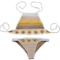 New Hand-Woven Hollow Hollow Knit Halter Two Piece Bikini Swimsuit
