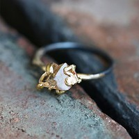 Variance Objects Womens Raw Topaz Stone Ring