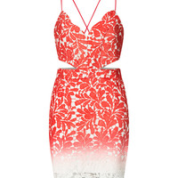 Red V-neck Ombre Backless Spaghetti Strap Bodycon Lace Dress