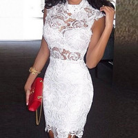 Halter Lace White Cloce-Fitting Homecoming Dress