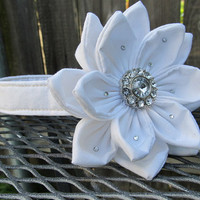 Dog Collar and Flower - MADE TO ORDER wedding Pure white flower with swarvoski crystal accents and pure white collar