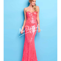 Stunning Neon Coral Sequin Gown