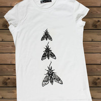 Women's Tshirt İnsect a Bike Ladies White  T Shirt,Screen Printing T shirts,Women's T-Shirts,  Tshirt,Size S, M, L