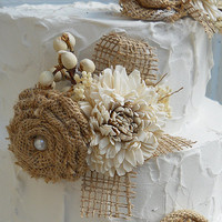 Sola & Burlap Rustic Cake Topper Flower Picks, done in burlap and sola flowers. Ready to Ship!