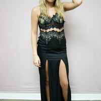 In the Night Black Lace Silhouette Maxi Dress With Slits