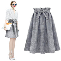 Skirts Womens 2016 Autumn Winter Faldas Women Midi Skirt Elastic High Waist Jupe Longue Femme Pleated Tutu Skirt Plus Size