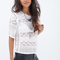 FOREVER 21 Embroidered Foliage Top