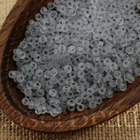 Czech Seed Beads size 10/0. (20g) Frosted Clear Gray Lined. Preciosa Ornela Rocailles. NR 287