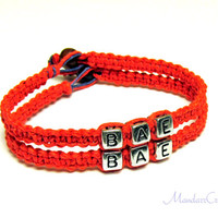 Red BAE Bracelets for Couples or Best Friends, Set of Two, Macrame Hemp Jewelry