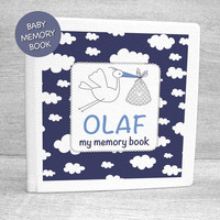 Blue clouds album / Baby boy memory book with personalised cover page / Baby first year book / Baby record book / Baby journal / Baby diary