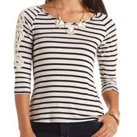Crochet Applique Striped Top by Charlotte Russe - Oatmeal Heather
