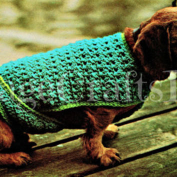 Dachshund Small Dog Sweater Crochet Pattern Jacket 1970s Instant PDF Pattern Dog Sweater Crochet Pattern for puppy pooch lapdog Vintage Beso