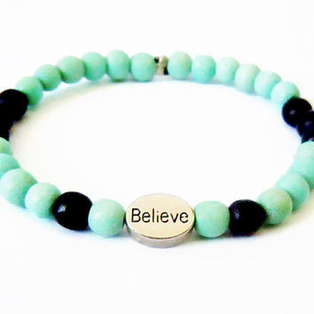Believe Beaded Affirmation Bracelet (Turquoise Green and Black)