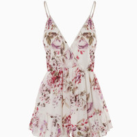 Fashion Women Floral Beach Chiffon Bodycon Jumpsuit Short Pant To Tops = 4721175876