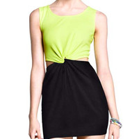 Black and Green Sleeveless Knot Cut-Out Mini Dress