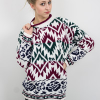 Vintage 80s Green and Burgundy Aztec Sweater
