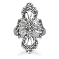 Marcasite and Cubic Zirconia Ring