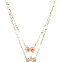 Gold Dainty Flower Layered Necklace by Charlotte Russe