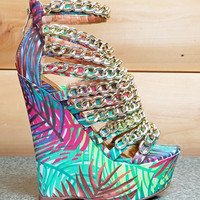 """Caked Up Tropical Palms Multiple Chain Platform Wedge Shoe - 6"""" Heels"""
