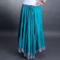 2017 summer long skirt women's national trend pleated skirt irregular bust skirt bohemia maxi skirt candy color to the floor