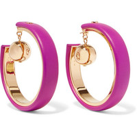 Marni - Gold-tone leather hoop earrings