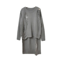 Grey Irregular Distressed Sweater