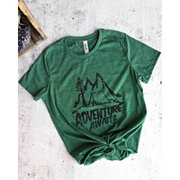 Distracted - Adventure Awaits Women's Favorite Cotton Tee in Heather Forest