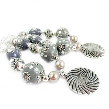 Silver and Gray Beaded Curtain Tiebacks