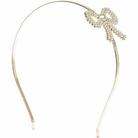 Girls cream pearl embellished bow alice band