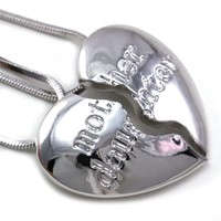 Mother and Daughter Heart Necklace Pendant Mother's Day Jewelry Gift for Mom