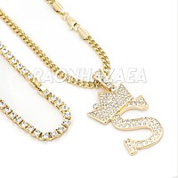 Crown S Initial Pendant Necklace Set