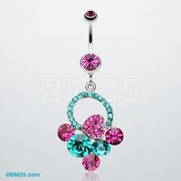 Treasure Cluster Heart Belly Button Ring