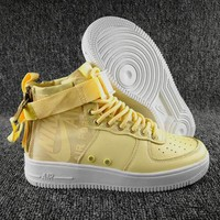 KU-YOU N097 Nike SF Air Force 1 Mid Zipper Urban Utility Ftwr Fashion Causal Skate Shoes Yellow