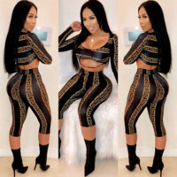 Women Casual Multicolor Letter Pattern Print Long Sleeve Trousers Set Two-Piece Sportswear