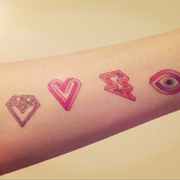 4pcs set Colored Heart Diamond Lightning Eye tattoo - InknArt Temporary Tattoo - set wrist quote tattoo fake tattoo wedding tattoo small