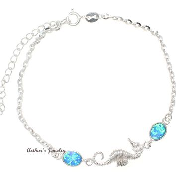 """925 Sterling Silver Rhodium Hawaiian Seahorse Blue Opal Link Chain Anklet 9.5""""+"""