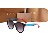 Gucci Fashion Women Men Colorful Glasses Contrast Glasses Lake&Red B-ANMYJ-BCYJ