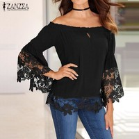 Women's Lace Crochet Slash Neck Off The Shoulder Shirt With Long Flared Sleeve
